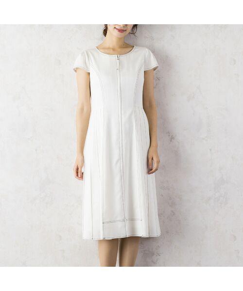 Rose Tiara / ローズティアラ ミニ丈・ひざ丈ワンピース | サイドプリーツワンピース(ホワイトデニム)(オフ)