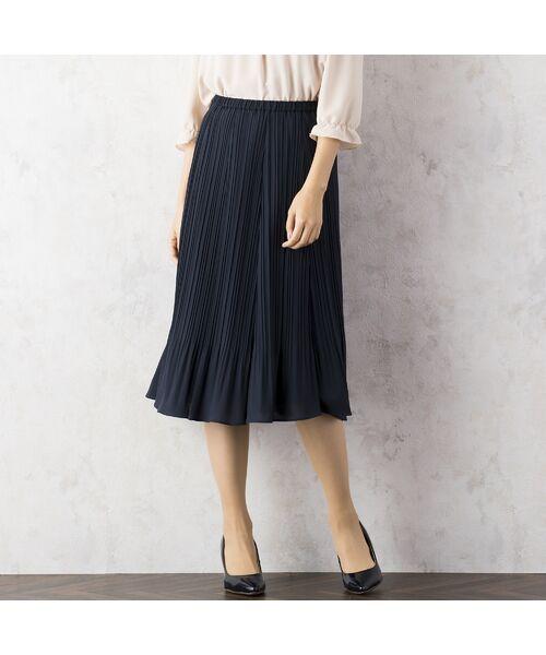 Rose Tiara / ローズティアラ ミニ・ひざ丈スカート | シフォンプリーツスカート(ダークブルー)