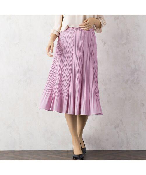 Rose Tiara / ローズティアラ ミニ・ひざ丈スカート   シフォンプリーツスカート(ピンク)
