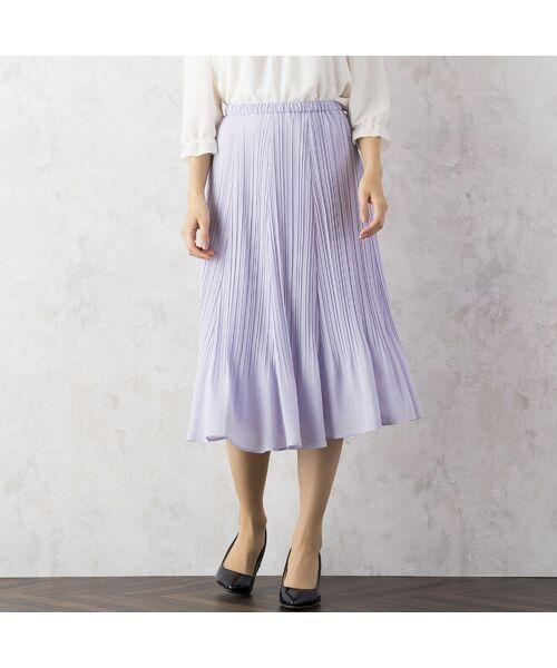 Rose Tiara / ローズティアラ ミニ・ひざ丈スカート | シフォンプリーツスカート(ラベンダー)