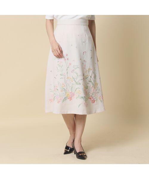 Rose Tiara / ローズティアラ ミニ・ひざ丈スカート | 線刺繍フレアスカート | 詳細1