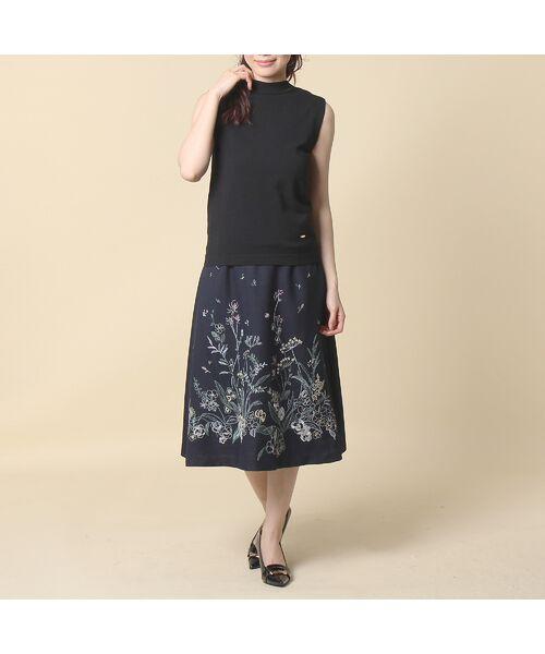 Rose Tiara / ローズティアラ ミニ・ひざ丈スカート | 線刺繍フレアスカート | 詳細14