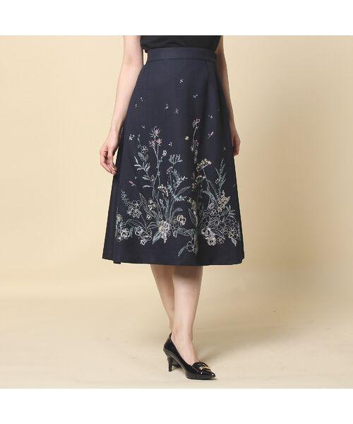 Rose Tiara / ローズティアラ ミニ・ひざ丈スカート | 線刺繍フレアスカート(ダークブルー)