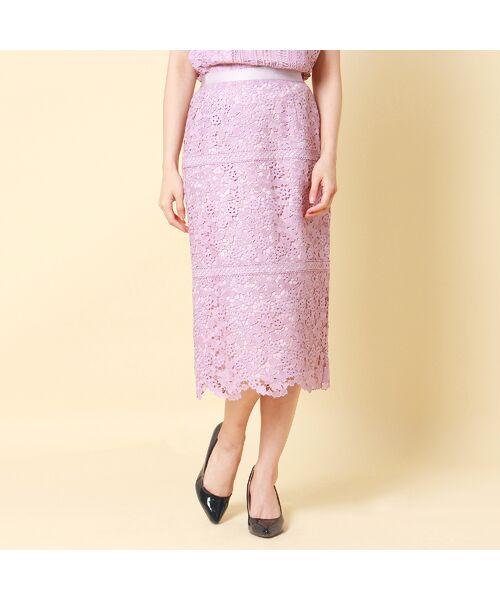 Rose Tiara / ローズティアラ ミニ・ひざ丈スカート   【舞川あいくさん着用】ハートケミカルレーススカート(ピンク)