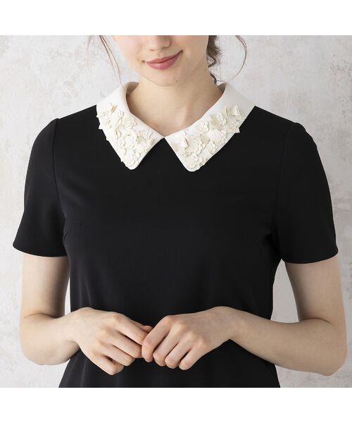 Rose Tiara / ローズティアラ ミニ丈・ひざ丈ワンピース   リボンフラワーモチーフ襟付きワンピース(ブラック)