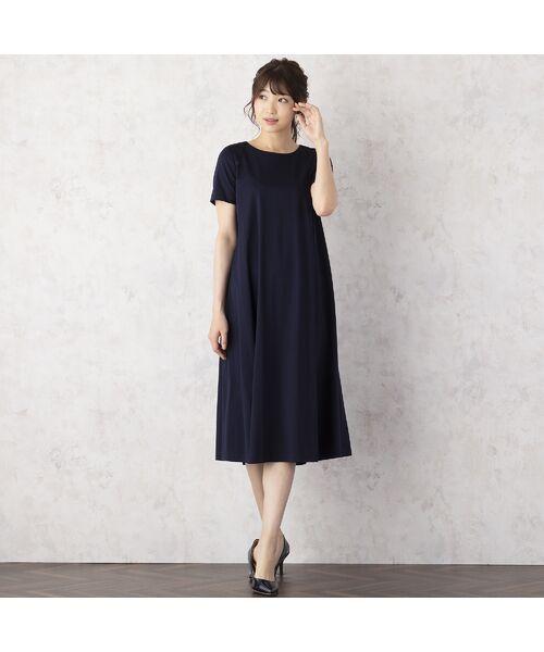 Rose Tiara / ローズティアラ ミニ丈・ひざ丈ワンピース | バック編上げカットソーワンピース(ダークブルー)