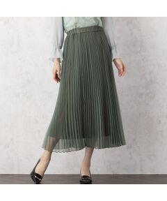 <font color='#e73656'><b>◆シアー感のあるマットオーガンジーのプリーツスカート</b></font><br>【 Made in Japan Fabric 】<br><br><b>[ Design & Styling ]</b><br>透け感のある素材が裏地とのコントラストで軽やかに揺れるフェミニンなプリーツスカートは今シーズンのマストアイテム。<br>動くたびにふんわり動くシルエットは透け感もあり、上品な大人フェミニンスタイルを作ります。<br>ウエストはオールゴム仕様でリラックスしたはき心地に。<br>ブラウスやニット、カットソーと合わせるものを選ばず、取り入れるだけで今年らしく新鮮なスタイリングに。<br>ピンク、グリーン、ブラックの全3色。<br><br><font color='#00a676'>コーディネートアイテム</font><br>ブルゾン/ 51035010<br>レースブラウス/ 51035012<br>ボウタイブラウス/ 51035008<br>ストライプブラウス/ 510350069<br><br><b>[ About Item ]</b><br>生地感: 薄手<br>伸縮性: なし<br>透け感: なし<br>裏 地: 裏あり<br>洗 濯: ドライクリーニング<br>※末永くご愛用いただくため、付属の洗濯表示・アテンションタグをよくご覧いただきますようお願いします。<br><br>※モデル身長: 166cm/ 38号着用<br><br><font color='#e73656'><b>[ RoseTiara Brand Concept ]</b></font><br>フェミニンな愛らしさと 大人のエレガンスを一度にまとう服 <br>「可愛い」をずっと手放さない あなたのためのブランドです<br><br>素材選びからデザイン、パターンまで一貫して行い、タックの向きやギャザー分量、フリル位置などサイズに合わせて調整することで美しいシルエットと着心地の良い服を提案します<br><br>*撮影環境により光の当たり具合で色味が違って見える場合があります。<br>*商品画像はサンプルのため、色味やサイズ、プリント位置、仕様などに変更がある場合があります。<br>*取扱い表示をご確認の上、着用をお願いします。<br>*50号は一部の店舗・ONLINE SHOPのみの展開となります。取扱いしていないサイトもございますのでご了承ください。<BR>