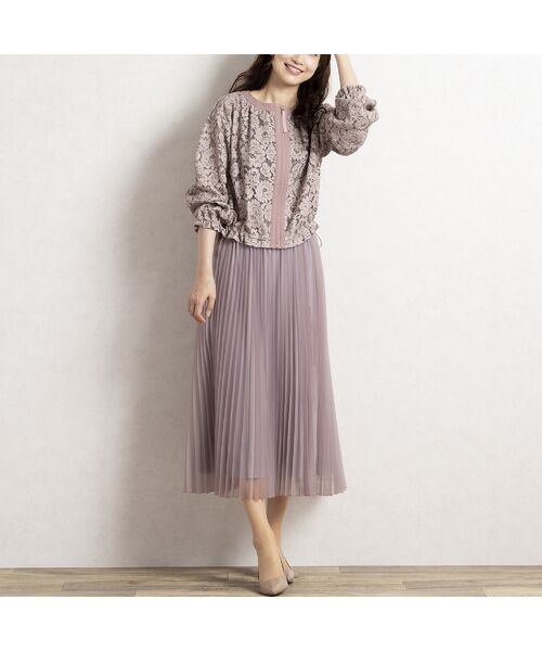 Rose Tiara / ローズティアラ ミニ・ひざ丈スカート   マットオーガンジープリーツスカート(ピンク)