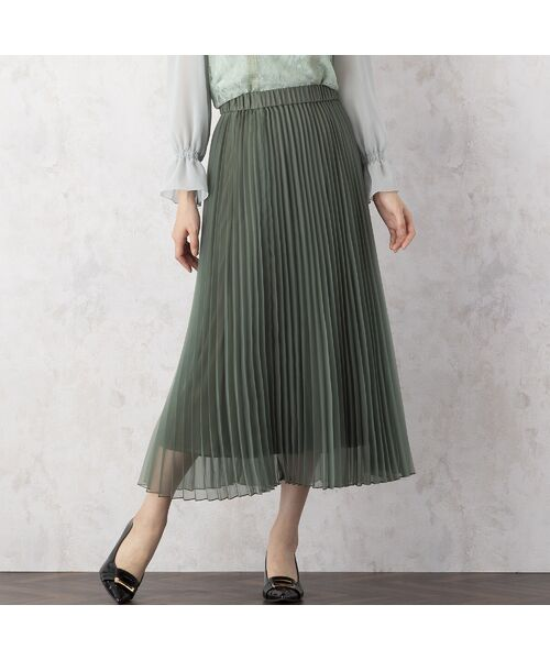 Rose Tiara / ローズティアラ ミニ・ひざ丈スカート   マットオーガンジープリーツスカート(グリーン)