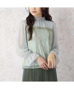 <font color='#e73656'><b>◆繊細で透け感のあるレースとシフォンを切替えたフェミニンなブラウス</b></font><br><font color='#00a676'>【 手洗いOK 】</font><br>【 Made in Japan Fabric 】<br><br><b>[ Design & Styling ]</b><br>繊細なフラワーレースとシフォンで切替え大人可愛い雰囲気のプルオーバー。<br>エレガントになりすぎないレースがあわせやすく、フェミニンなコーディネートを楽しめます。<br>シャーリングのハイネックがクラシカルな印象を高めてくれ、コーディネートを新鮮にアップデート。<br>パンツともスカートとも相性が良く、袖口もシャーリングゴムのフレア袖で春先から秋口まで長く愛用できるアイテムです。<br>ワイドデニムと合わせてMIXスタイルを楽しんだり、ジャンパースカートとのレイヤードスタイルを楽しんだりと合わせるものによってコーディネートに。<br>後ろボタン開き。<br>オフホワイト、ピンク、グリーン、ブラックの全4色。<br><br><font color='#00a676'>コーディネートアイテム</font><br>スカート/ 51045004<br><br><b>[ About Item ]</b><br>生地感: 薄手<br>伸縮性: なし<br>透け感: あり<br>裏 地: 袖のみ裏なし<br>洗 濯: 水洗い可<br>※末永くご愛用いただくため、付属の洗濯表示・アテンションタグをよくご覧いただきますようお願いします。<br><br><font color='#e73656'><b>[ RoseTiara Brand Concept ]</b></font><br>フェミニンな愛らしさと 大人のエレガンスを一度にまとう服 <br>「可愛い」をずっと手放さない あなたのためのブランドです<br><br>素材選びからデザイン、パターンまで一貫して行い、タックの向きやギャザー分量、フリル位置などサイズに合わせて調整することで美しいシルエットと着心地の良い服を提案します<br><br>*撮影環境により光の当たり具合で色味が違って見える場合があります。<br>*商品画像はサンプルのため、色味やサイズ、プリント位置、仕様などに変更がある場合があります。<br>*取扱い表示をご確認の上、着用をお願いします。<br>*50号は一部の店舗・ONLINE SHOPのみの展開となります。取扱いしていないサイトもございますのでご了承ください。<BR>