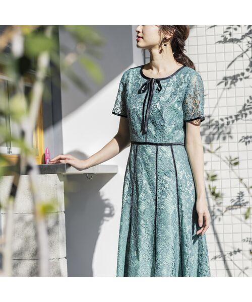 Rose Tiara / ローズティアラ ミニ丈・ひざ丈ワンピース   リボン配色レースワンピース(グリーン)