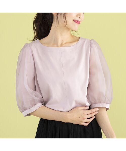 Rose Tiara / ローズティアラ カットソー   パフスリーブカットソー(ピンク)