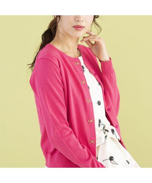 Rose Tiara / ローズティアラ ニット・セーター | リボンモチーフニットカーディガン(ピンク)