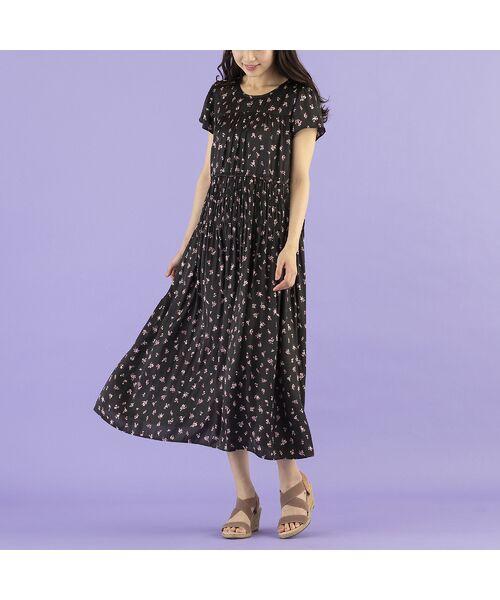 Rose Tiara / ローズティアラ ミニ丈・ひざ丈ワンピース | 【 ouchi de Rose 】 割線半袖ワンピース(ブラック)