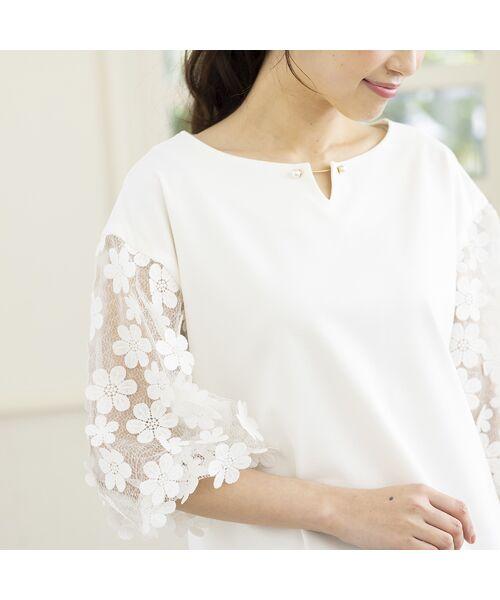 Rose Tiara / ローズティアラ シャツ・ブラウス   3D刺繍袖ブラウス(オフ)