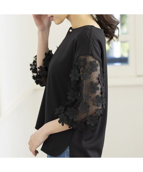 Rose Tiara / ローズティアラ シャツ・ブラウス   3D刺繍袖ブラウス(ブラック)
