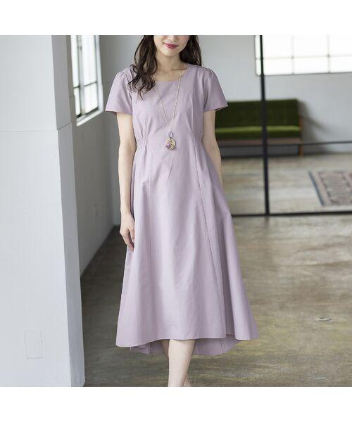 Rose Tiara / ローズティアラ ミニ丈・ひざ丈ワンピース   【 ouchi de Rose 】タイプライターワンピース(ピンク)