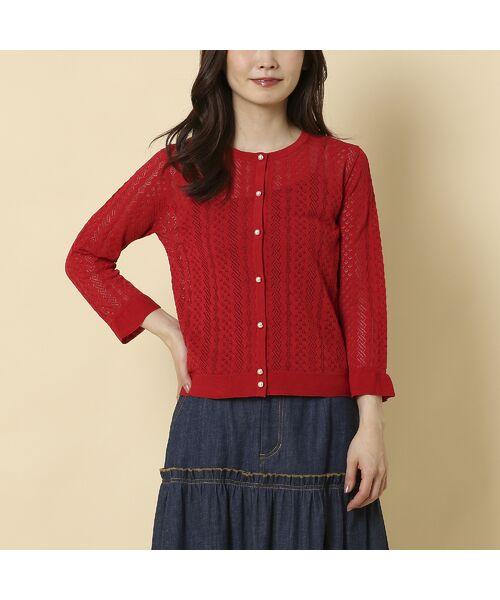 Rose Tiara / ローズティアラ ニット・セーター | フリル袖透かし編みニットカーディガン | 詳細5