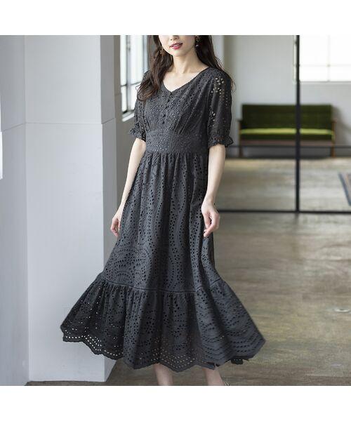 Rose Tiara / ローズティアラ ミニ丈・ひざ丈ワンピース   アイレット刺繍ワンピース(グレー)
