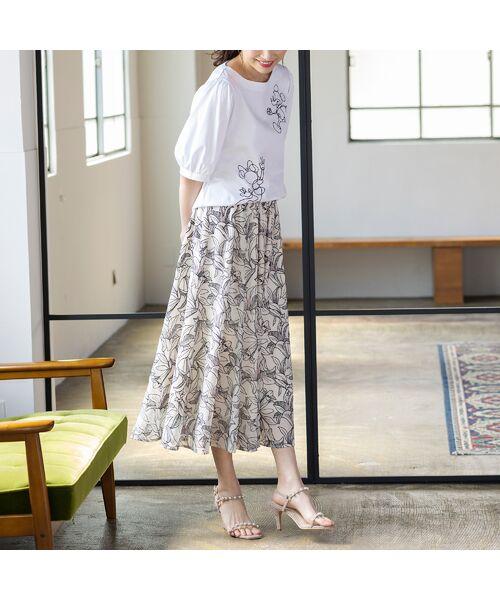 Rose Tiara / ローズティアラ ミニ・ひざ丈スカート   リリー刺繍フレアスカート   詳細1
