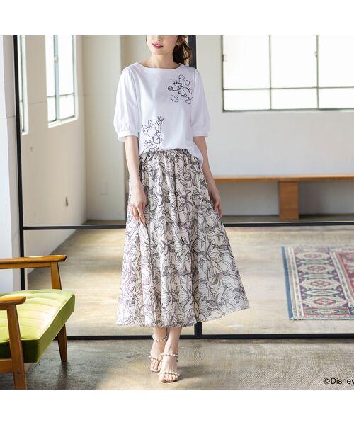 Rose Tiara / ローズティアラ ミニ・ひざ丈スカート   リリー刺繍フレアスカート(オフ)