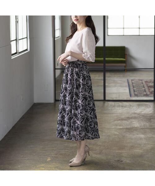 Rose Tiara / ローズティアラ ミニ・ひざ丈スカート   リリー刺繍フレアスカート   詳細13