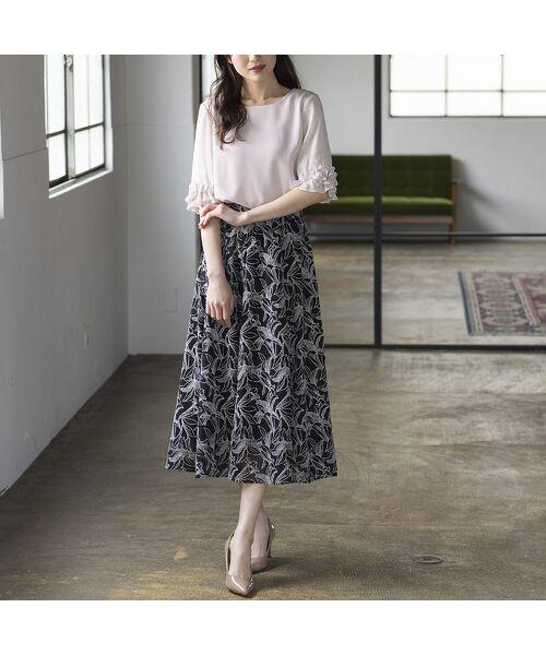 Rose Tiara / ローズティアラ ミニ・ひざ丈スカート   リリー刺繍フレアスカート(ブラック)
