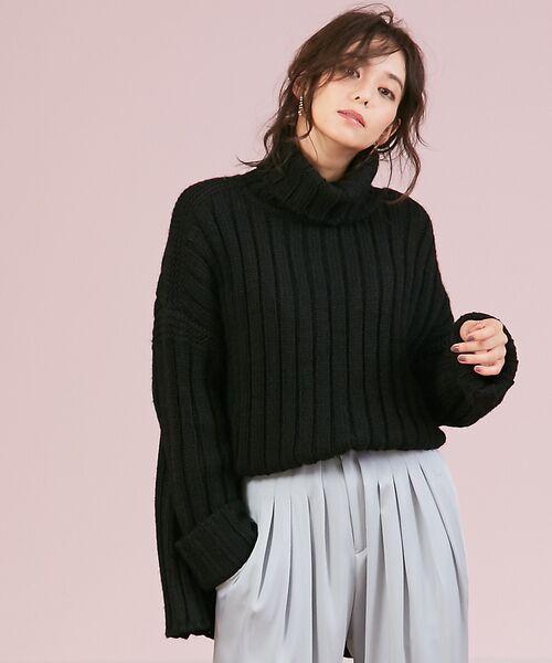 Rouge vif la cle / ルージュ・ヴィフ ラクレ ニット・セーター | ワイドリブタートル(ブラック)