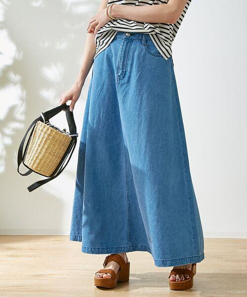 Rouge vif la cle / ルージュ・ヴィフ ラクレ ロング・マキシ丈スカート   デニムロングスカート(ブルー)
