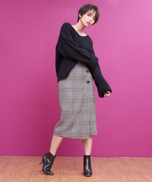 Rouge vif la cle / ルージュ・ヴィフ ラクレ ミニ・ひざ丈スカート   カラーチェックラップスカート   詳細1