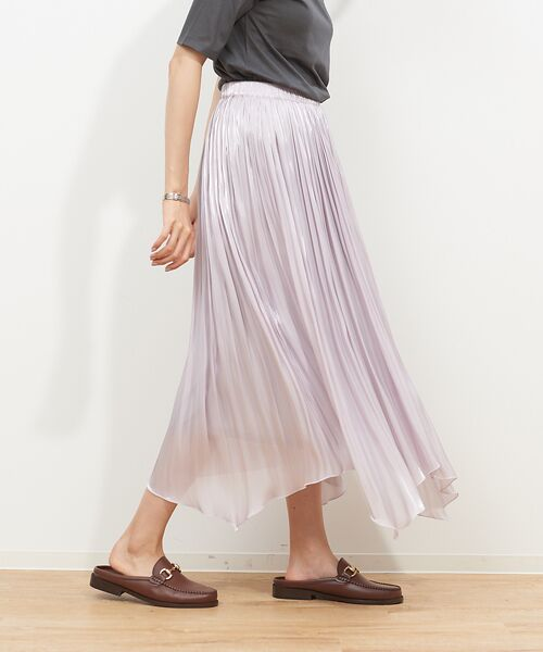 Rouge vif la cle / ルージュ・ヴィフ ラクレ スカート   サテンギャザーイレギュラーヘムスカート1【予約】(グレージュ)