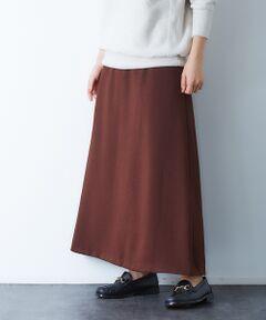 アンティーク調のシボ感が特徴のジョーゼットを使用したロングスカート。<br>マキシ丈で、広がり過ぎないフレアシルエットが魅力。<br>裾のフレアは、前は少しだけ広がり、後ろの分量は多めに設定しているので、歩くと後ろがなびく絶妙なシルエット。<br>ボリュームニットやメンズライクなスウェットとの相性も◎<br><br>ピンク モデル:H165 B80 W58 H83 着用サイズ:36<br>ブラウン モデル:H165 B80 W58 H83 着用サイズ:36<br><BR>