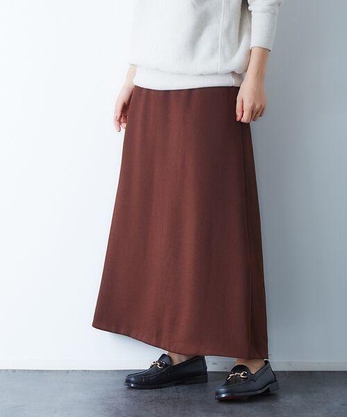 Rouge vif la cle / ルージュ・ヴィフ ラクレ ロング・マキシ丈スカート | アンティークジョーゼットスカート(ブラウン)