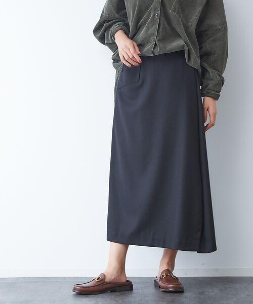 Rouge vif la cle / ルージュ・ヴィフ ラクレ ロング・マキシ丈スカート | サキソニーポケット付スカート(ブラック)