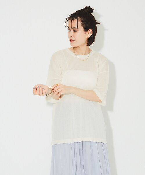 Rouge vif la cle / ルージュ・ヴィフ ラクレ ニット・セーター | シアーニットTシャツ【予約】(アイボリー)