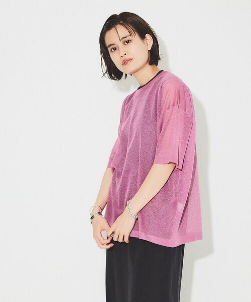 Rouge vif la cle / ルージュ・ヴィフ ラクレ ニット・セーター | シアーニットTシャツ【予約】(ラベンダー)