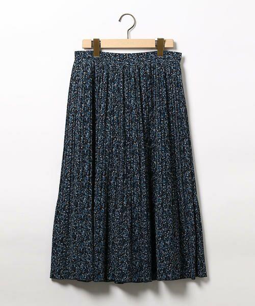 SCAPA / スキャパ ミニ・ひざ丈スカート | ミステリアスプリントスカート(ネイビー)