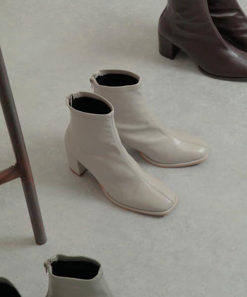 SENSE OF PLACE by URBAN RESEARCH / センスオブプレイス バイ アーバンリサーチ ブーツ(ショート丈) | スクエアトウセンターシームストレッチブーツ(IVORY)