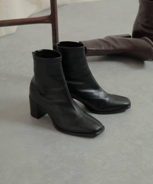 SENSE OF PLACE by URBAN RESEARCH / センスオブプレイス バイ アーバンリサーチ ブーツ(ショート丈) | スクエアトウセンターシームストレッチブーツ(BLACK)