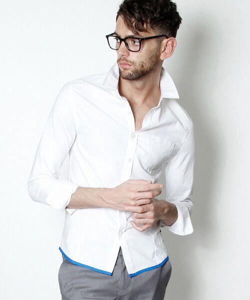 SHIFFON / シフォン シャツ・ブラウス | 【AKM Contemporary】裾カラーパイピングオックスシャツ | 詳細4