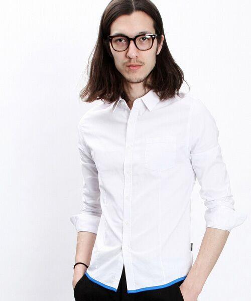 SHIFFON / シフォン シャツ・ブラウス | 【AKM Contemporary】裾カラーパイピングオックスシャツ(ホワイト)