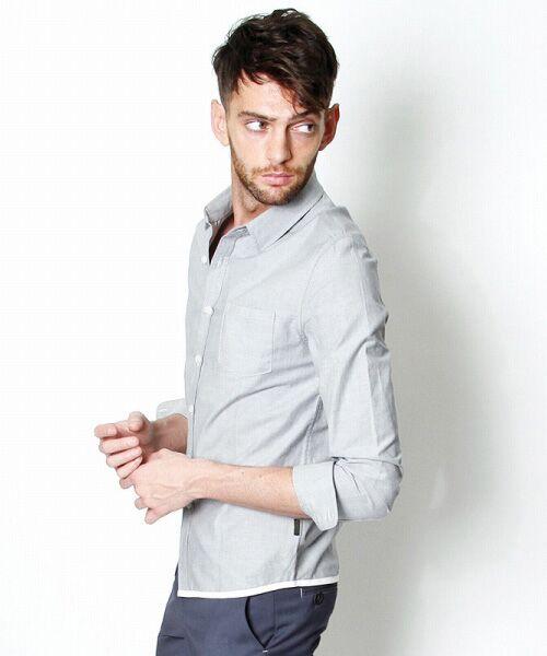 SHIFFON / シフォン シャツ・ブラウス | 【AKM Contemporary】裾カラーパイピングオックスシャツ(グレー)
