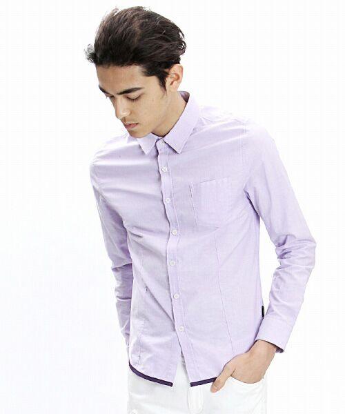 SHIFFON / シフォン シャツ・ブラウス | 【AKM Contemporary】裾カラーパイピングオックスシャツ(パープル)