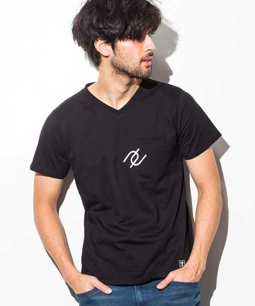 SHIFFON / シフォン Tシャツ | ポケット付アイコンプリントTシャツ(ブラック)