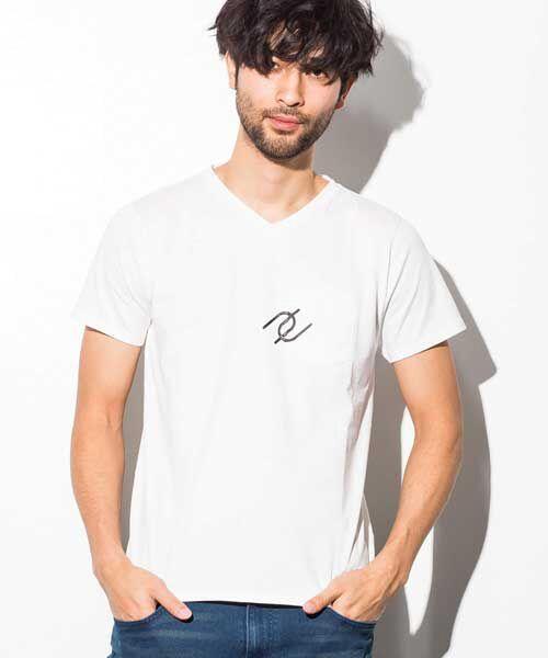 SHIFFON / シフォン Tシャツ | ポケット付アイコンプリントTシャツ(オフホワイト)