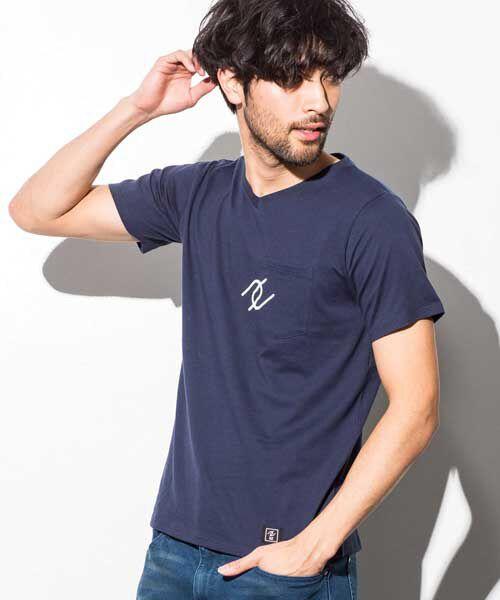 SHIFFON / シフォン Tシャツ | ポケット付アイコンプリントTシャツ(ネイビー)