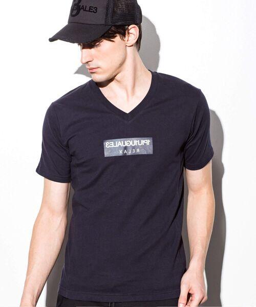 SHIFFON / シフォン Tシャツ | ボックスロゴプリントTシャツ(ネイビー)
