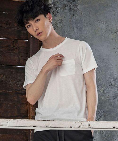 SHIFFON / シフォン Tシャツ | カットオフポケットTシャツ(ホワイト)