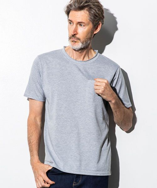SHIFFON / シフォン Tシャツ   カットオフポケットTシャツ(グレー)