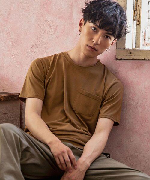 SHIFFON / シフォン Tシャツ   カットオフポケットTシャツ(キャメル)
